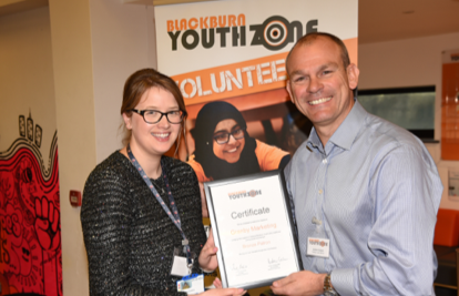 Photo - Founder of Blackburn Youth Zone Andrew Graham MBE and Caroline from Granby Marketing