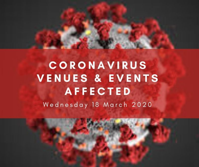 Coronavirus events and venues affected