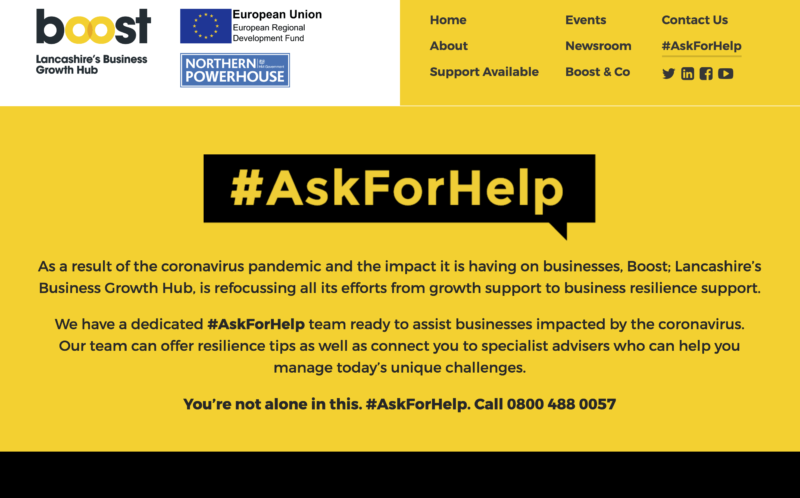 Ask For Help with Boost Business Lancashire