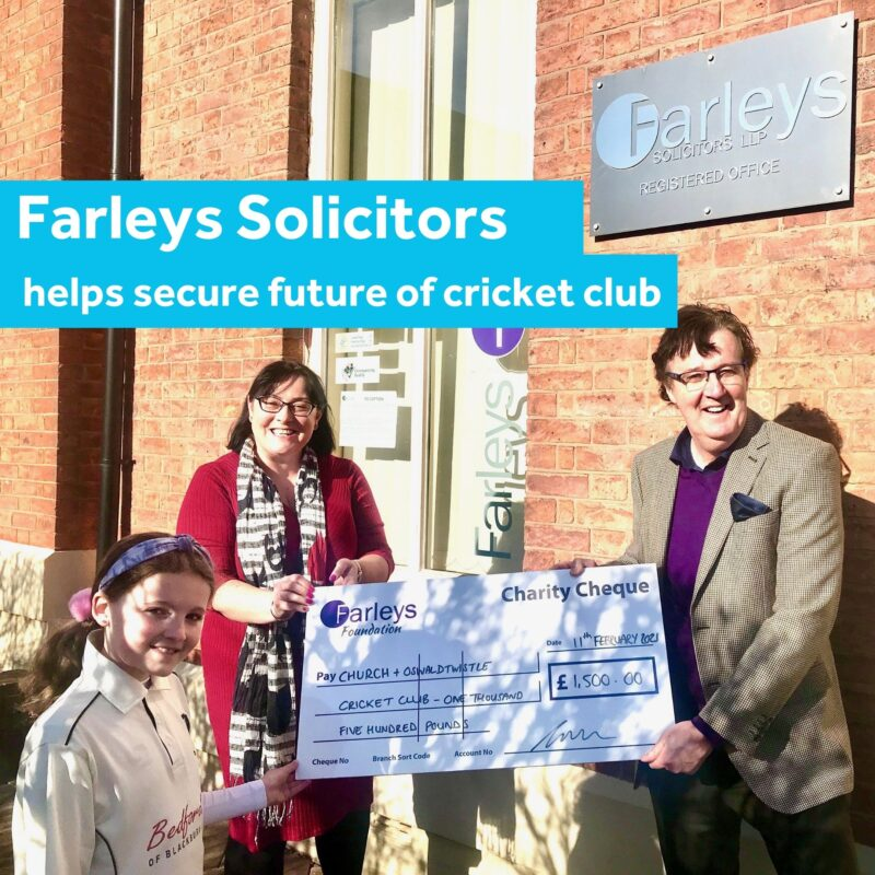 Ffion Bentley of Church and Oswaldtwistle Cricket Club, Antonia Love and Michael Corrigan, Partners at Farleys Solicitors