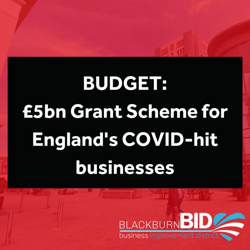 At tomorrow's Budget, Chancellor Rishi Sunak is expected to announce a new £5 billion grant scheme to help England's struggling high street businesses recover as coronavirus restrictions begin to ease.