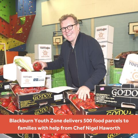 Michelin-star Chef Nigel Haworth is helping Blackburn Youth Zone pack ingredients ahead of 500 food parcels being delivered to families this weekend.