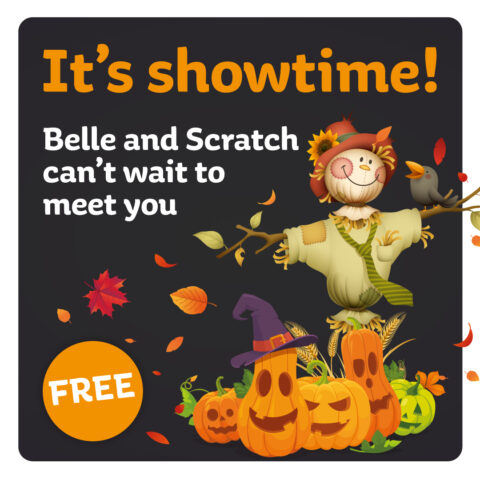 Belle and Scratch the scarecrows visit the Mall, Blackburn